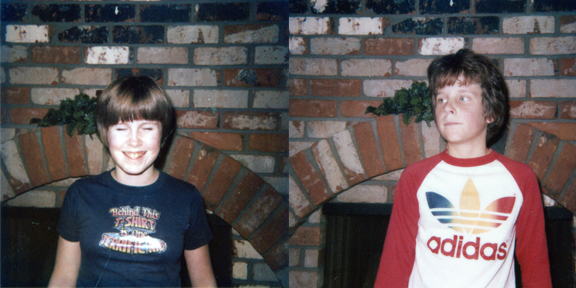 Dan and his sister sport their best 70's graphic T's (which are actually both kinda awesome...but still)