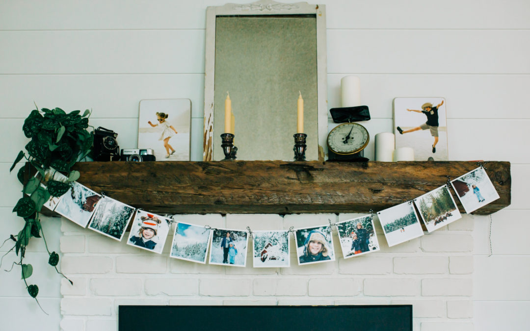 Winter Mantel Decor Idea Using Your Photos