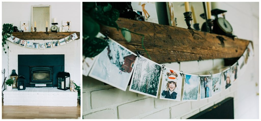 DIY winter mantel garland decor
